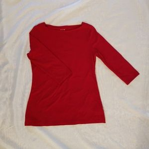 Tops - Fitted boat neck top with quarter length sleeves